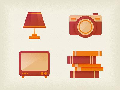 Retro Icons retro retrospective lamp camera old tv book