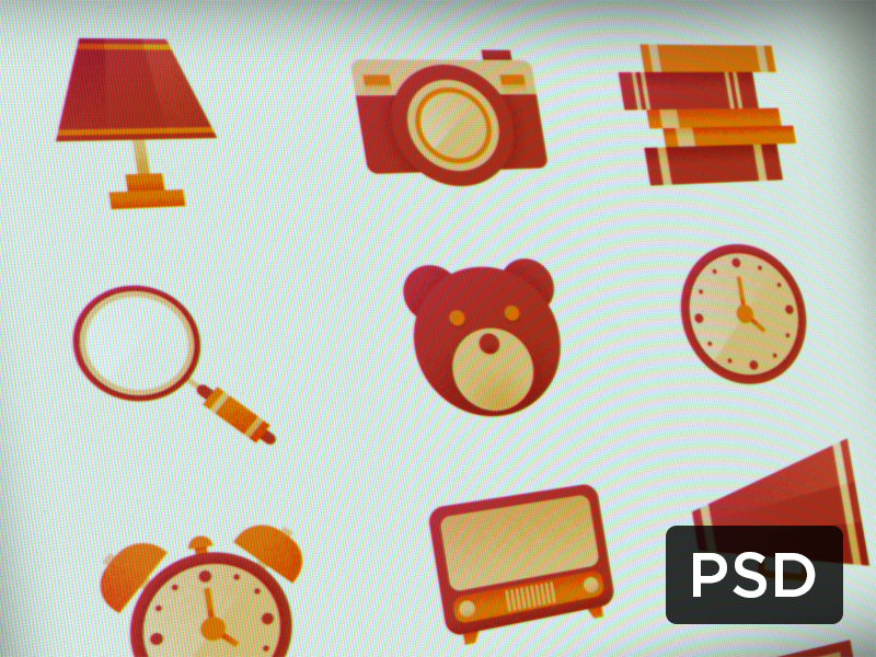 Retro Icons Pack (Free PSD) free psd retro book tv old camera lamp