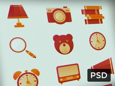 Retro Icons Pack (Free PSD)