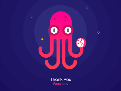 Hello Dribbblers! thankyou invitation dribbble blue octopus first furorious shot debut