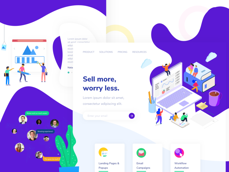 Landing Page of a Sales Marketing Company design ui card illustration gradient debut shot dribbble blue automation marketing sales landing page