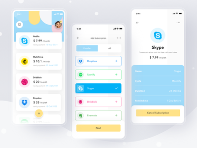 Subscriptions Manager App skype dribbble netflix payment pay subscription cards simple profile design mobile ios card ui clean app