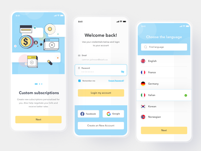 Subscriptions Manager App paypal pay money payment subscription login cards simple profile design mobile ios card app ui clean
