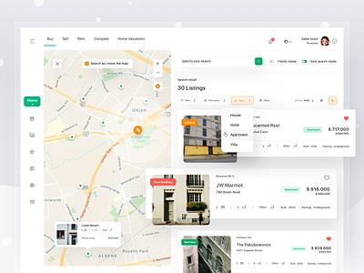 Property Broker Platform web apartment house sell buy rent real estate broker website platform property map region