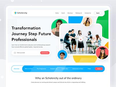 Scholercity Website education campus collage student carrier university school web design landingpage design desktop website web