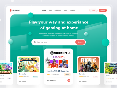 Game Store Website simple profile design clean card gaming landingpage web design website web pc gaming pc console pay play store game