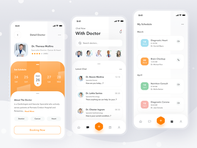 Online Doctor App video scheduling booking home online consultation medicine health doctor login cards simple mobile profile ios app ui design clean card
