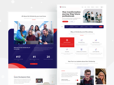 Scholercity Website learn university campus studies collage school webdesign web website cards ui design clean card