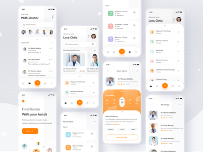 Online Doctor App medicine health doctor login simple mobile profile ios app ui design clean card consultation online home booking scheduling schedule video