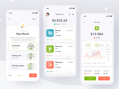 Cryptocurrency wallet app invest ethereum bitcoin payment illustration mobile profile ios app ui design clean card wallet cryptocurrency