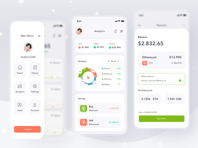 Cryptocurrency wallet app invest money balance bitcoin crypto currency wallet payment simple mobile profile ios app ui design clean card