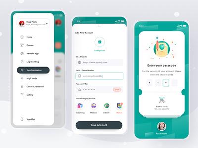 Password Saver App password account security payment login cards simple mobile profile ios app ui design clean card