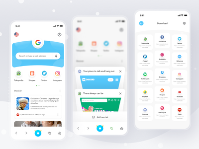 Mobile Browser App internet browsers safari chrome android browser login cards simple mobile profile ios app ui design clean card