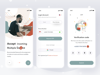 Transporter App - Login security register password otp onboarding login cards simple mobile profile ios app ui design clean card