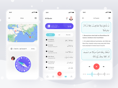 Muslim App calendar compass islamic quran muslim cards simple mobile profile ios app ui design clean card