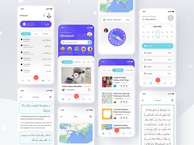 Muslim App quran compass islamic muslim login cards simple mobile profile ios app ui design clean card