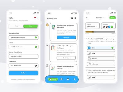 Online assessment platform test quizz quiz platform assessment online login cards simple mobile profile ios app ui design clean card