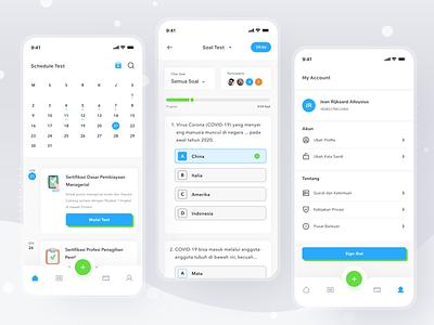 Online assessment platform time date schedule assessment mobile profile ios app ui design clean card
