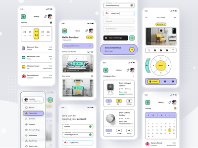 SmartHome App Platform simple smart ai remote home profile smarthome mobile ios app ui design clean card