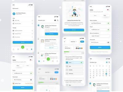 Online assessment platform responsive android mobile management certificate task quiz profile ios app ui design clean card
