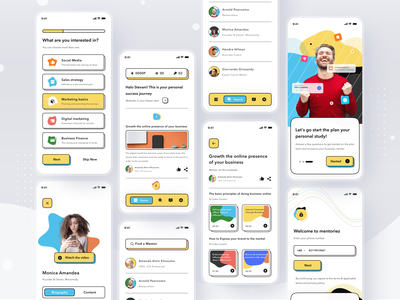 Mentoring Platform App branding class mentoring course profile ios ui app design clean card mobile