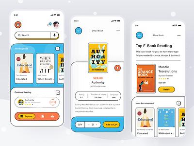 e-Book Reader App novel comic reading read checkout shop store ebook book mobile illustration profile ios app ui design clean card