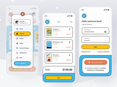 e-Book Reader App 3d branding buy sell checkout store shop reading read book comic novel mobile profile ios app ui design clean card