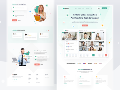 Claroom Landing Page admin dashboard meeting virtual zoom collages school teacher lms learning online education website web design clean card ui