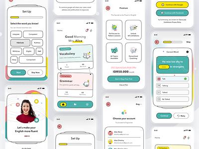 English Learning Platform task english course mobile debuts debut profile ios app ui design clean card