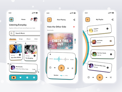 Online Music Streaming App podcast youtube spotify music streaming mobile profile ios app ui design clean card