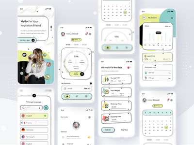 Water Reminder App web mobile home login profile ios app ui design clean card