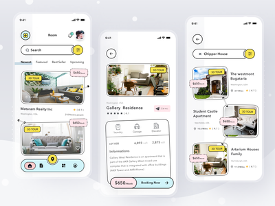 Property Finder App real estate property login android mobile branding logo illustration profile ios app ui design clean card