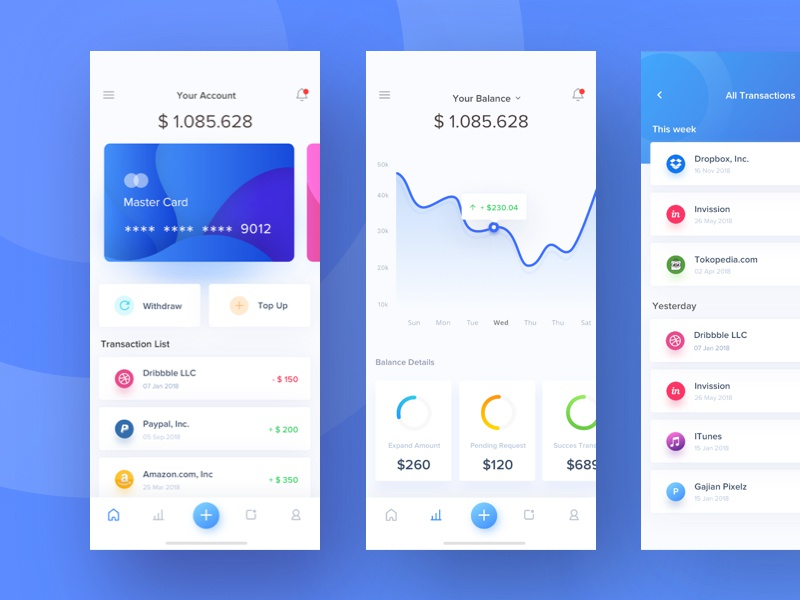 e-chain wallet app card dashboard currency mining payment crypto money stats ios wallet