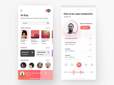 Podcast Visual Exploration minimal streaming clean ui audio album player podcast app music