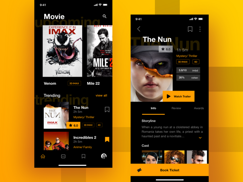 Movie App simple clean ios mobile app seat book booking trailer player video card rating netflix streaming film ticketing ticket theater movie