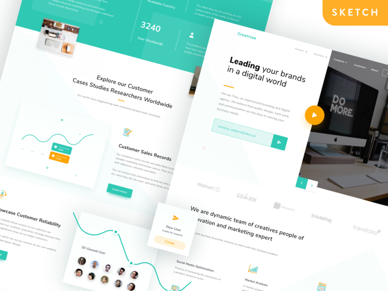 Creativoe Agency Landing Page Freebie icons chart stats design web website clean simple creative page landing ui