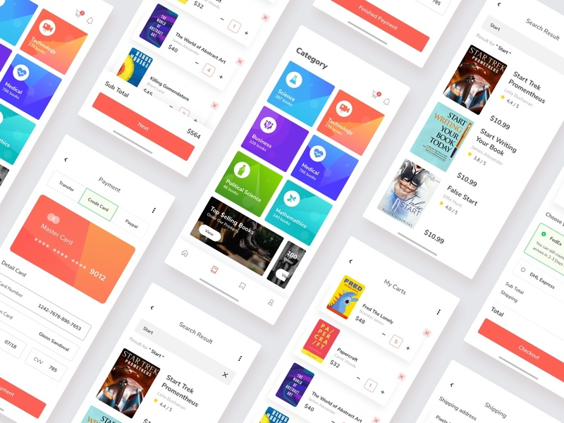 Bookstore App Exploration design screen payment shipping simple read card clean ios bookstore book iu app