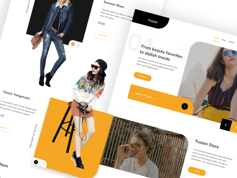 Fashion Store Landing Page grid photo models simple ui pack clean website shop app shop promo fashion ecommerce