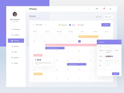 Schedule Dashboard clean trello schedule planning plan meeting profile calendar popup event dashbaord fluent flat uidesign