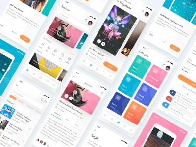 Event App uiux design eventbrite conference search onboarding signup login ios music ticket card app event