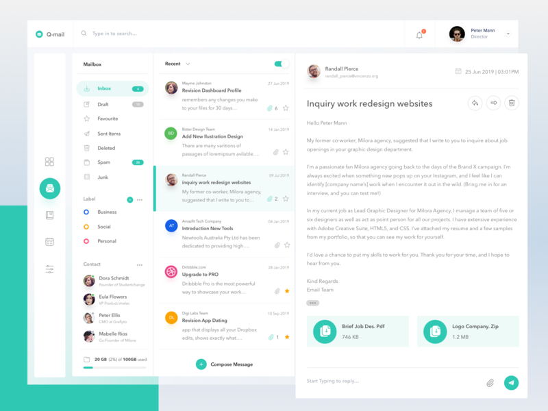 Email Client Dashboard yahoo gmail inbox message chatting chat cloud website web desktop chart card profile account clean mail email dashboard design
