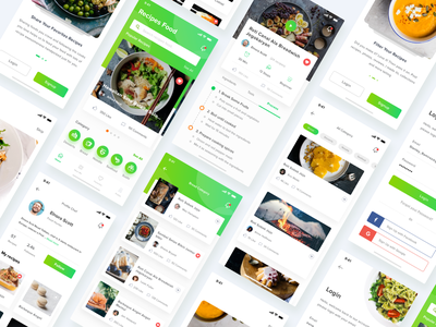 Food Recipes App dishes menu chef recipes recipe resto restaurant cards profile design simple card mobile clean ui ios app video