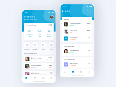 Mobile Bank App finance app finance payment history transaction bank app bank wallet business cards money profile design simple card mobile ui ios clean app