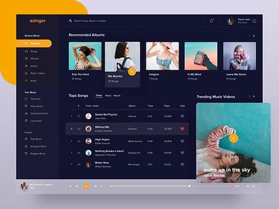 Music Desktop Player - Dark Version itunes spotify youtube celebration live streaming fluent design fluent podcast video music desktop app desktop clean