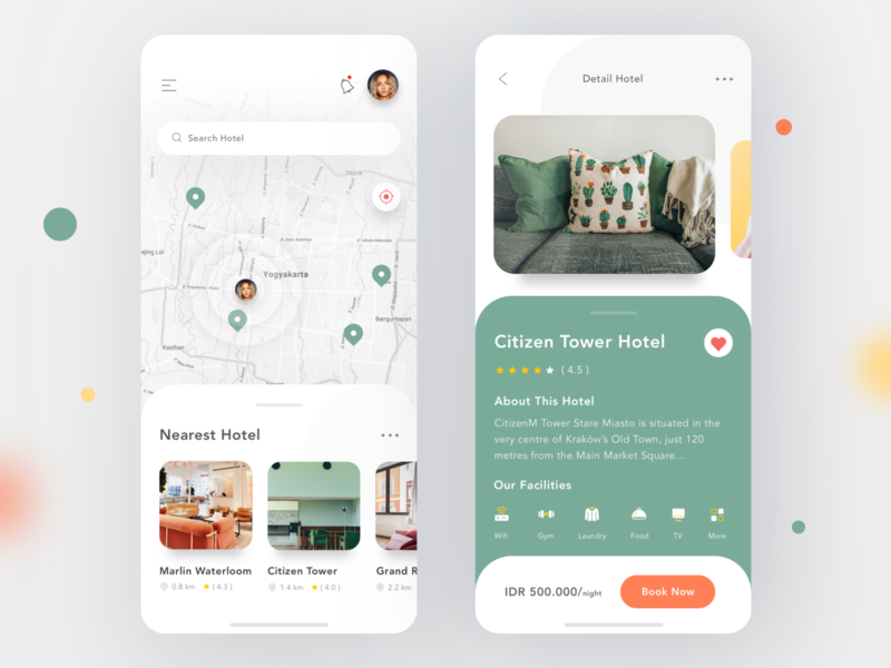 Hotel Search App room real estate property house map apartment hotel search booking profile mobile card ios ui app