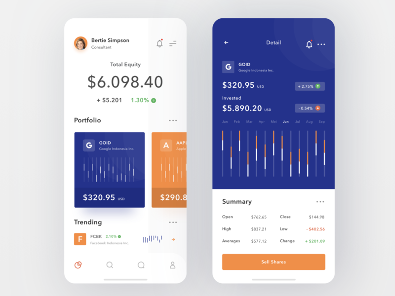 Investment App investment invest investor login payment business money dashboard profile design mobile card ios ui clean app