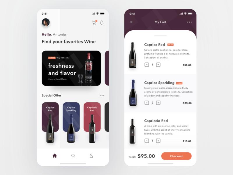 Wine Shop App login cards dashboard profile cart shop alcohol ecommerce trello drink wine design mobile card ios ui clean app