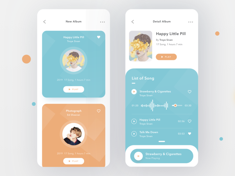 Music App trello podcast play song sing music login cards profile design mobile card ios ui clean app