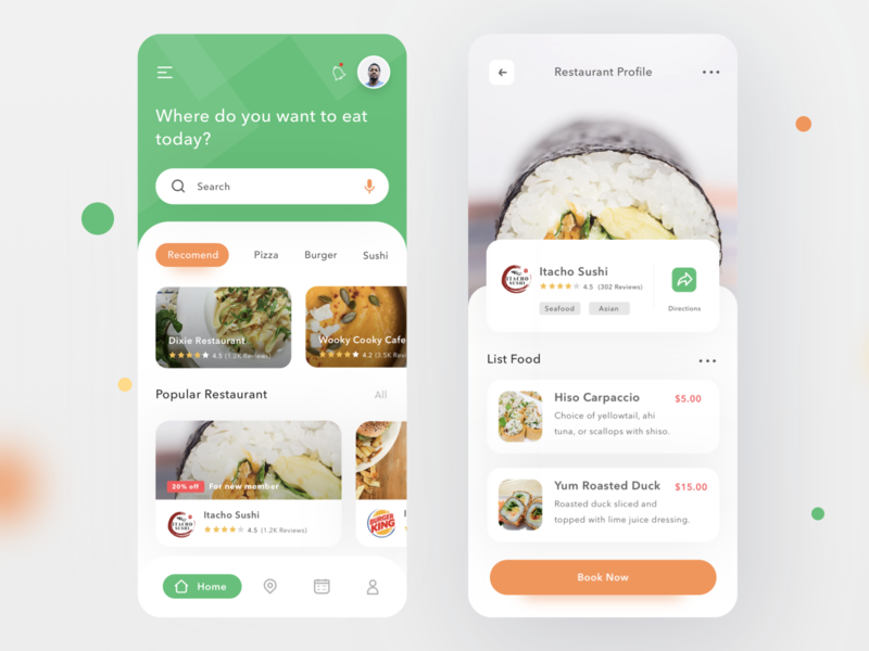 Restaurant Finder App drink map reservation booking restaurant foodie food login profile design mobile card ios clean app ui