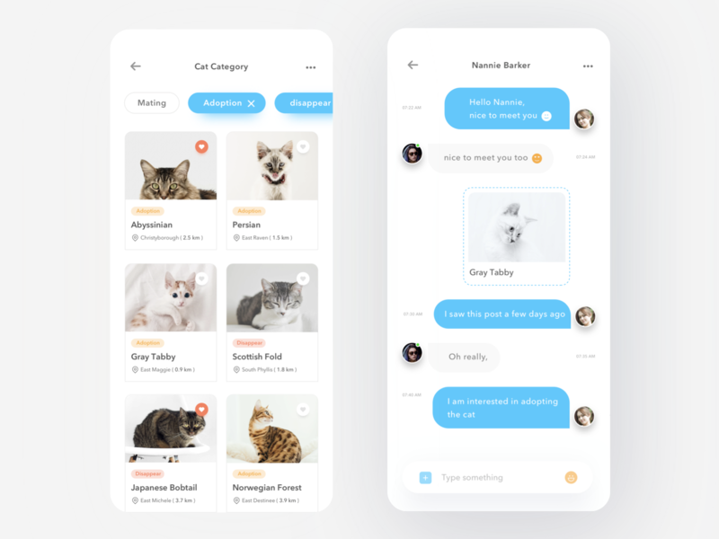 Pet Sharing App message chat animal petshop adoption conservation dog donate adopt pet cat simple profile design mobile card ios ui clean app
